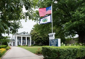 MacFarland-Hubbard House with flags