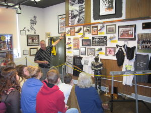 "Students in Rowlesburg, WV, learn about their own ""hometown teams"" at a community display incorporated into the Hometown Teams Museum on Main Street tour in 2014."
